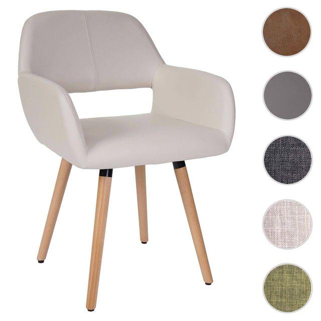 Mendler Chaise de salle à manger Altena Ii, fauteuil, design rétro des années 50 ~ similicuir, crème