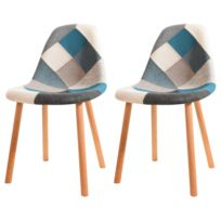 rendez vous deco chaise arctik patchwork bleue lot de 2 - Chaise Scandinave
