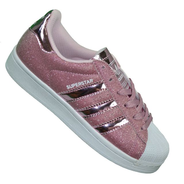 Adidas originals - En Solde Baskets - Superstar Paillettes - Rose Blanc