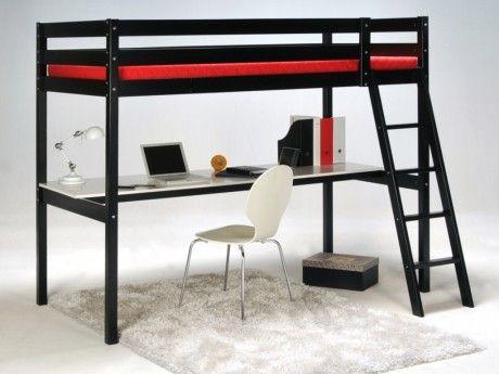MARQUE GENERIQUE - Lit mezzanine PRADO - 90x190cm - Bureau intégré - Noir