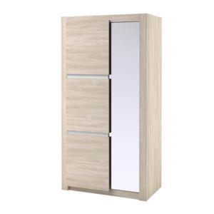 Armoire en bois finition fr ne 2 portes avec miroir for Miroir en longueur