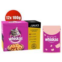 Whiskas - Sachets Fraîcheur en Sauce 7+ à la Volaille pour Chat - 12x100g