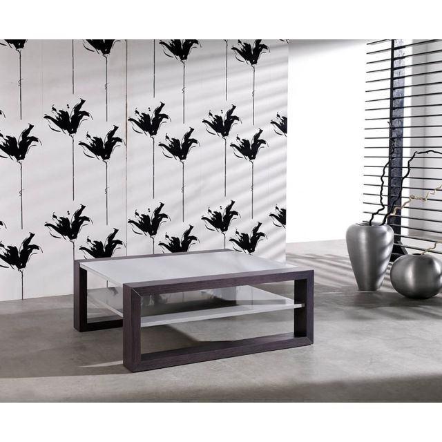Sofamobili Table basse carrée gris design Madison
