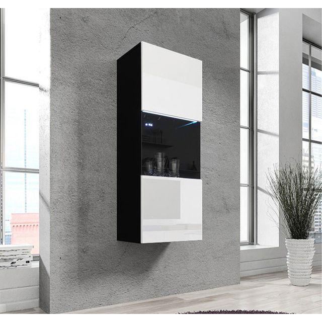 Design Ameublement Armoire mural modele Oleggio noir et blanc