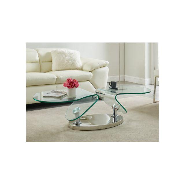 Table basse avec plateaux pivotants EZEKIEL - Verre trempé & métal