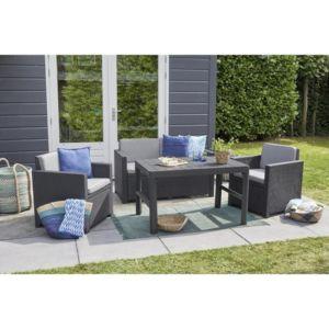 allibert jardin salon de jardin 4 places monaco lyon imitation r sine tress e avec table 2. Black Bedroom Furniture Sets. Home Design Ideas