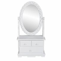 Vidaxl - Coiffeuse en bois avec 3 tiroirs et miroir pivotant