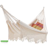 Ecomundy - Elegance Xl – Hamac classique avec frange – coton bio naturel – Gots