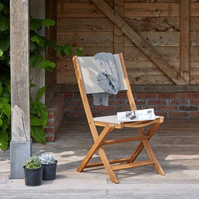 Bois Dessus Bois Dessous Chaise en bois d'acacia et textilène Fsc
