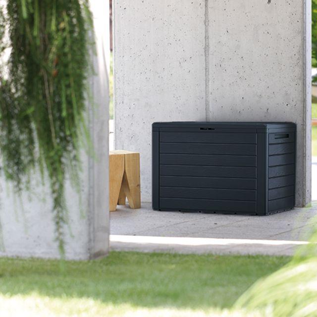 Cemonjardin Coffre en plastique effet bois noir 280L