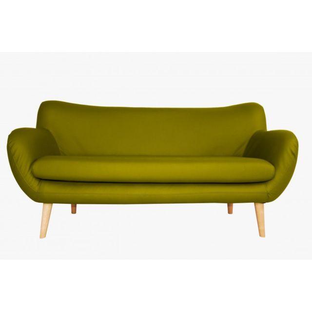 Rocambolesk Canapé Adele 3 Pu soft 13 apple avec pieds naturels sofa divan