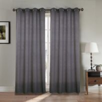 Best Interior - Paire de rideaux aspect lin épais - gris-anthracite - Dimensions : 140x260