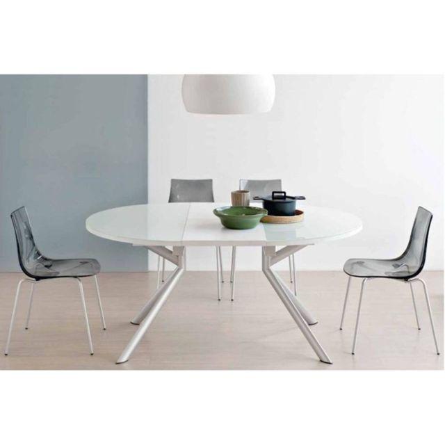 Inside 75 Table de repas extensible ronde Tulipe Quattro 120cm en verre sérigraphié blanc