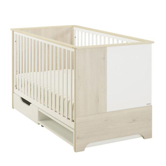 Tousmesmeubles Lit bébé évolutif Blanc/Pin blanchi - Sweet