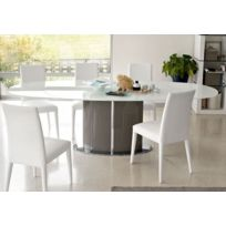 Inside75 - Calligaris Table repas ovale extensible Odyssey 165x105 en verre blanc colonne grise