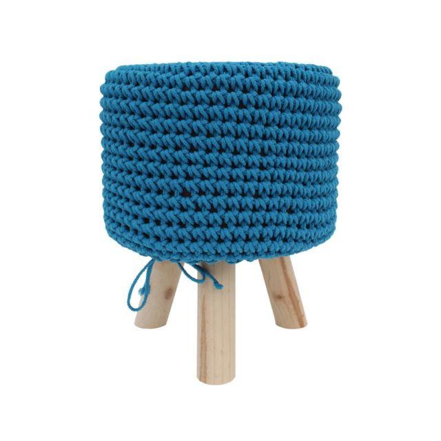 Mobili Rebecca Repose-Pieds Rembourrée Bois Tissu Bleu Clair 45x35x35
