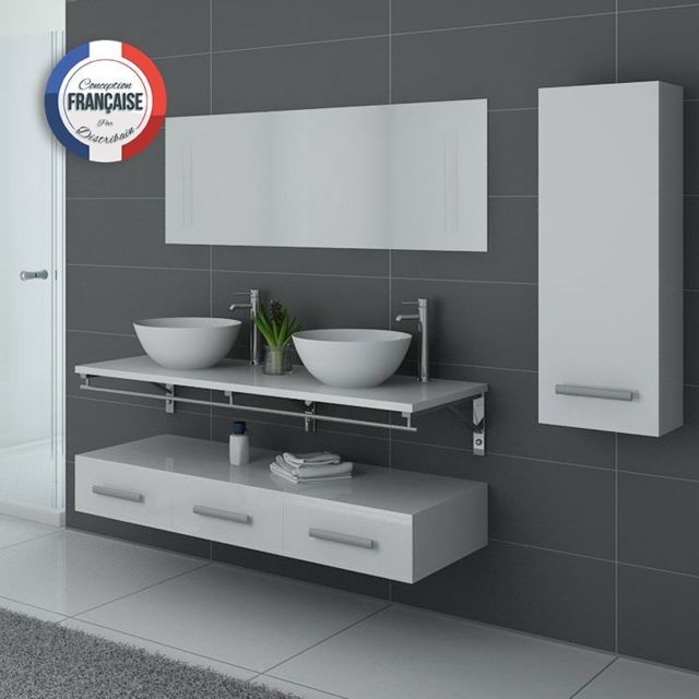 Distribain - Meuble double vasque Blanc Virtuose Duo - pas cher ...