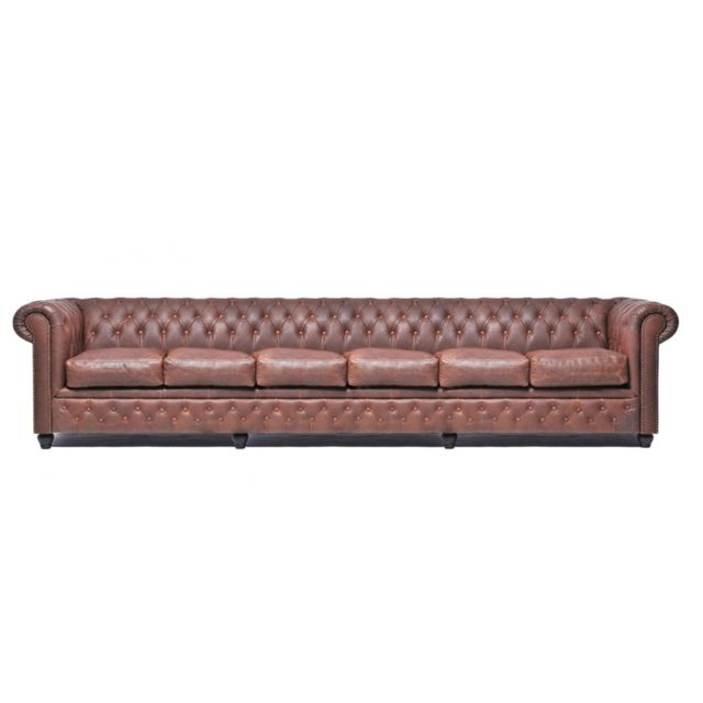 CHESTERFIELD Vintage 6 places Brun