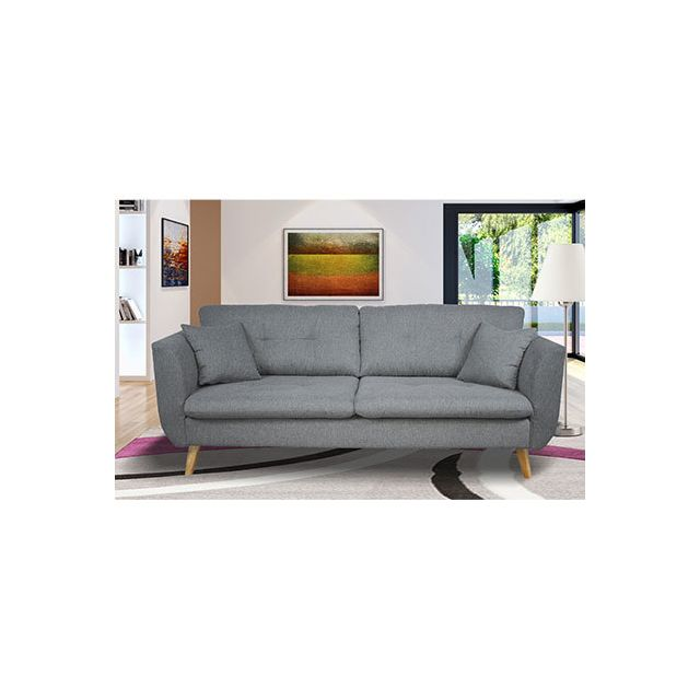 Canapé 3 places fixe en tissu gris clair - Galton