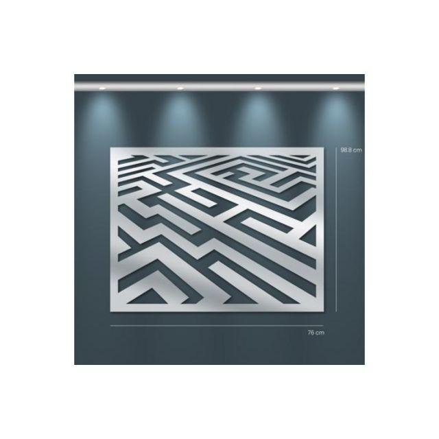 Declikdeco Miroir labyrinthe Gm argenté en verre Toscane 99 x 76 cm