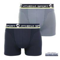 Athena - Lot de 2 boxers sport co bleu gris