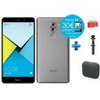 HONOR - 6X - Grey + Enceintes bluetooth M-312 Muse Noir + Carte Micro SDHC 32 Go EVO+ + Perche à Selfie filaire pour smartphone iOs et Android - Noire