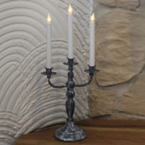 Xmas Living Glass - Movitz - Chandelier Métal Noir Antique 3 Led H49cm - Lampe à poser designé par