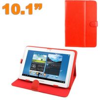 Yonis - Housse tablette 10.1 pouces protection universelle simili cuir Rouge