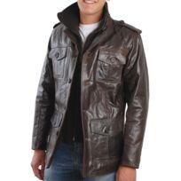 Eagle Square - Blouson Jacky cuir marron