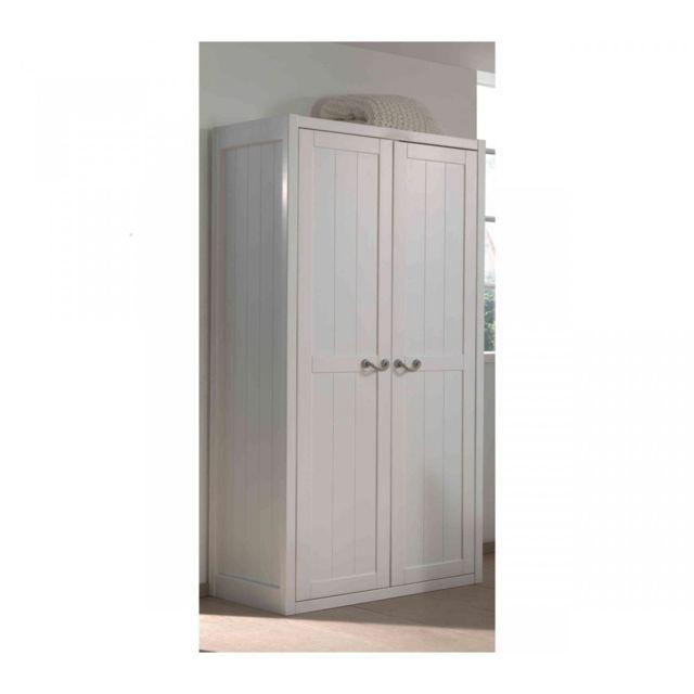 terre de nuit armoire 2 portes bois blanc largeur 100 cm ar2016 100cm x 200cm x 59cm pas. Black Bedroom Furniture Sets. Home Design Ideas