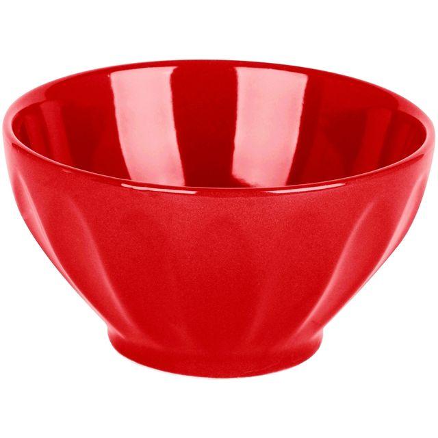Promobo Bol A Déjeuner Et Soupe Design Emaillé Coloris Platine Rouge 14cm