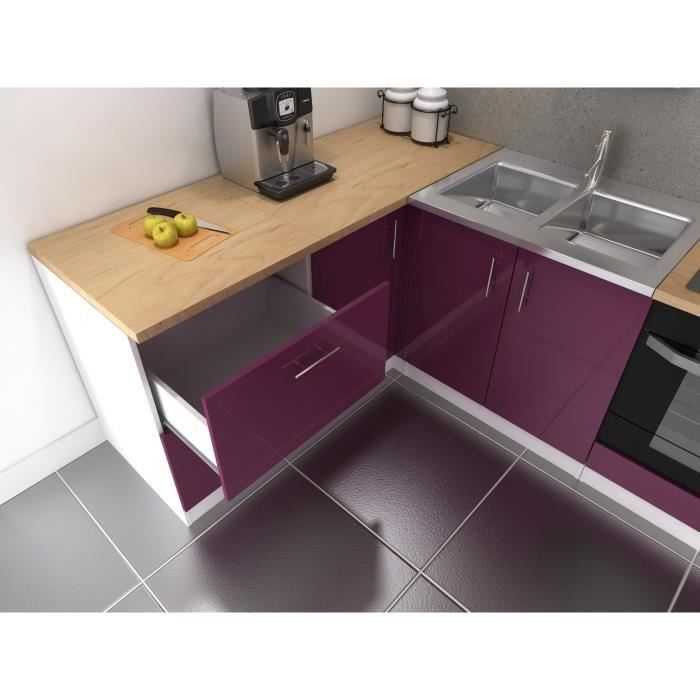 cuisine complete 280 cm laqu aubergine cosy pas cher. Black Bedroom Furniture Sets. Home Design Ideas