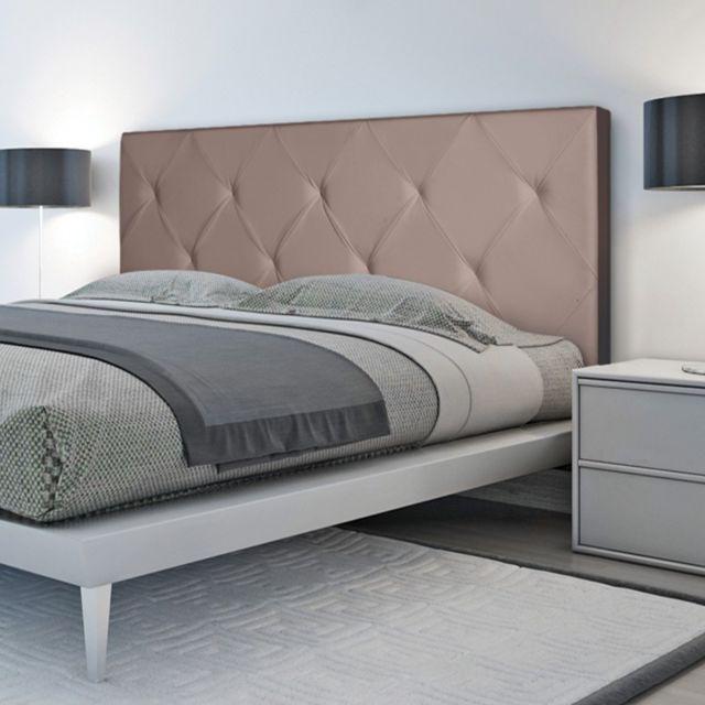 idmarket t te de lit capitonn e pvc taupe 160x60cm. Black Bedroom Furniture Sets. Home Design Ideas