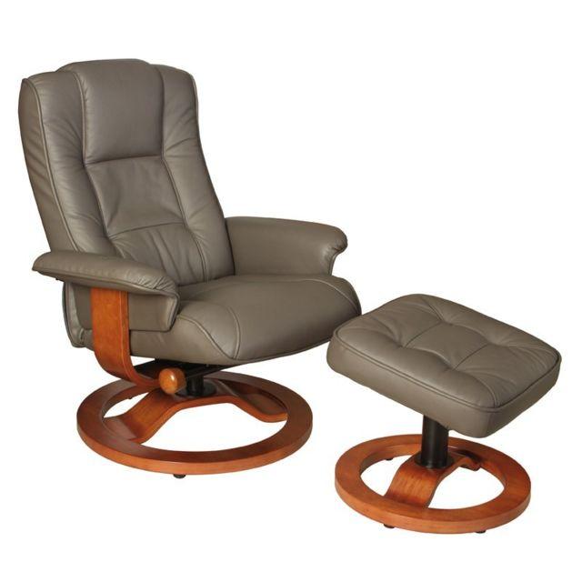 Tousmesmeubles Fauteuil de relaxation cuir taupe - Relaxo - L 70 x l 75 x H 94