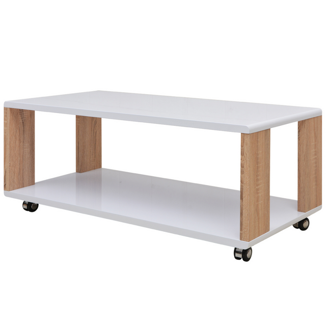 Vidaxl Table basse brillante Blanc
