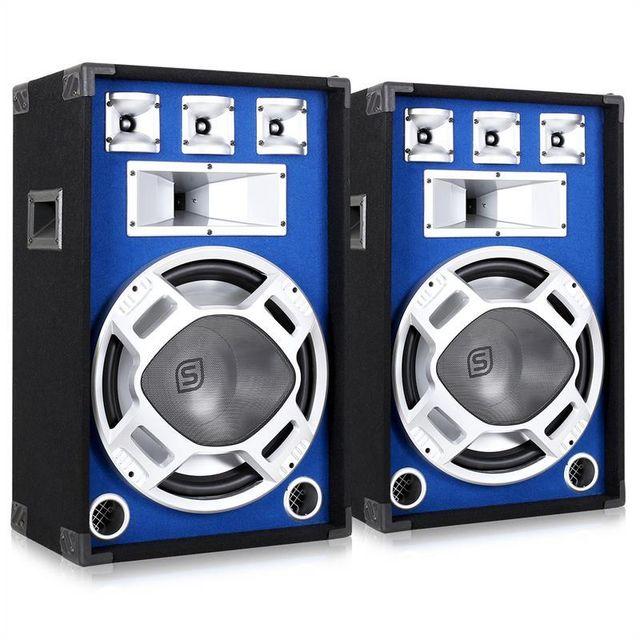 SKYTRONIC Kit DJ PA 2 Enceintes Passives HP LED 1600W sono subwoofer 15