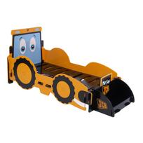 Kidsaw - Lit enfant Junior tracteur 70 x 140 cm avec coffre à jouets intégré Jcb