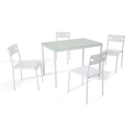 Ensemble table + 4 chaises coloris blanc