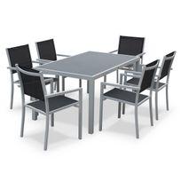 ALICE'S GARDEN - Capua 150cm Blanc / Gris - Salon de jardin aluminium table 150cm, 6 fauteuils en textilène gris et alu blanc