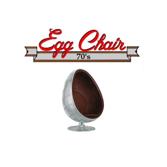 Inside 75 Fauteuil pivotant Oeuf Egg chair Aviateur Aluminium Style Vintage. Design 70's
