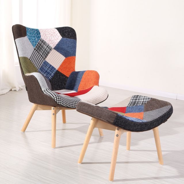 Oneboutic Fauteuil scandinave patchwork - Stockholm
