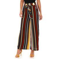 Lamodeuse - Pantalon rouge large à rayures 21e3ba740e3
