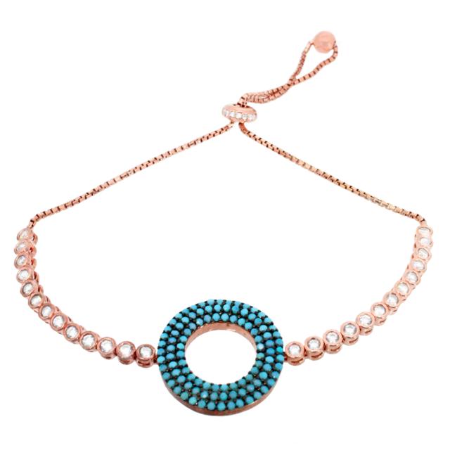 Alexandra Plata Bracelet en argent sterling plaqué or rose pavé de zircones blanches et cercle recouvert de zircone turquoise