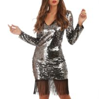 9c322140e6 Robe sequin argent - catalogue 2019 - [RueDuCommerce - Carrefour]