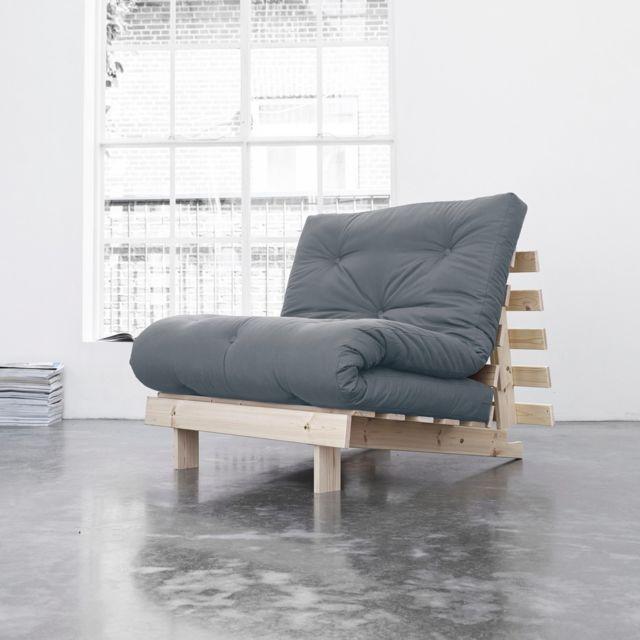 TERRE DE NUIT Pack matelas futon gris clair coton structure en bois naturel 90x200