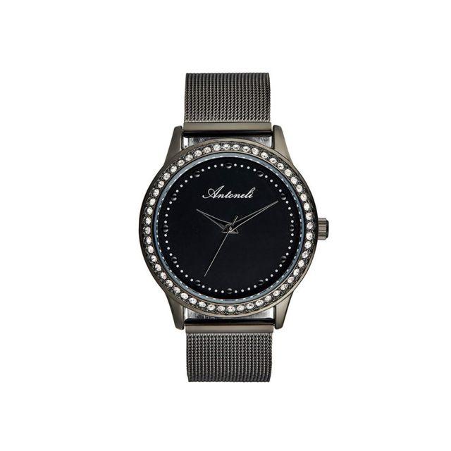 Antoneli - Montre Femme Cadran 38mm En Acier Noir Et Bracelet Noir En Acier Ant2043