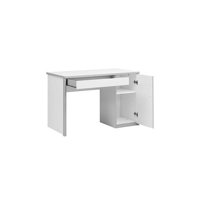 Bureau 1 porte 1 tiroir blanc et gris - Halissa