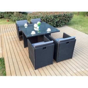 rocambolesk magnifique salon de jardin florida 4 noir gris salon encastrable 4 personnes en. Black Bedroom Furniture Sets. Home Design Ideas