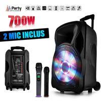 """Party Sound - Enceinte sono mobile amplifiée 700W 12"""" Led/USB/BT/SD/FM + 2 micros sans-fil Party12"""