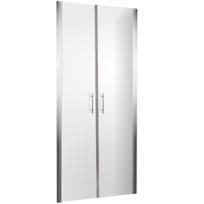 Portes de douche battantes en niche, 80 x 190 cm, parois de douche battantes, verre transparent, profilé aspect chromé, Style